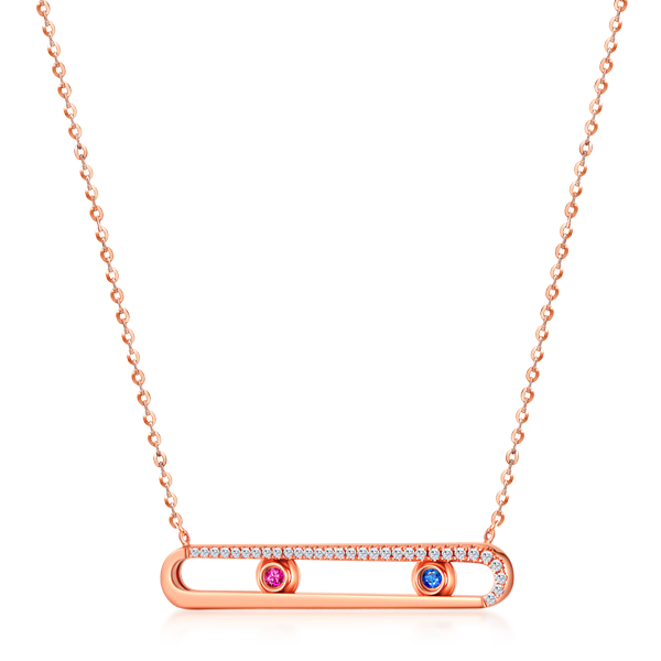 FANTASY K金宝石钻石项链